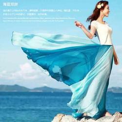 váy bohemieng phối màu Mã: VN590 - XANH BIỂN