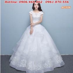 áo cưới màu trắng cổ tròn AC506