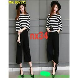 Sét áo kiểu tay ống loe sọc trắng đen và quần ống rộng SQV391