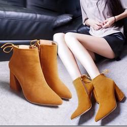 Giày boot 8 phân da lộn đế vuông