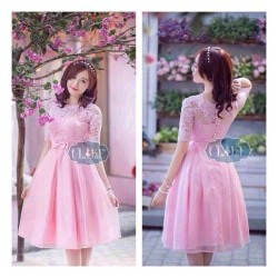 Đầm xòe ren hồng công chúa