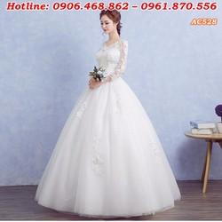 Áo cưới màu trắng có tay cổ V AC528