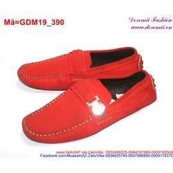 Giày mọi da nam màu đỏ phối khóa nổi bật sành điệu