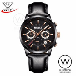 Đồng hồ NIBOSI KSD 929 chạy full 6 kim dây Da mặt viền Đen kim Vàng