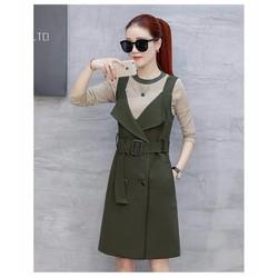 Đầm suông yếm kaki lụa kèm áo len DS20016 - Hàng nhập loại 1