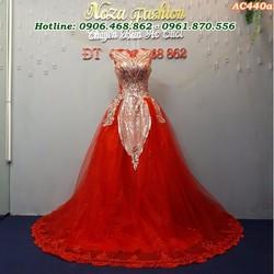 Áo cưới màu đỏ kết kim sa AC