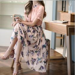 Đầm xòe hoa cổ ren duyên dáng - Hàng Quảng Châu cao cấp
