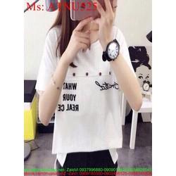 Áo thun nữ ngắn tay trắng cách điệu in chữ phong cách