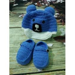 set nón giày gấu xanh
