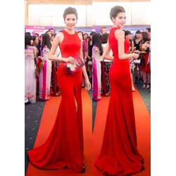 hàng cao cấp-Áo đầm dạ hội màu đỏxẻ giữa như Á Hậu Thúy Vân