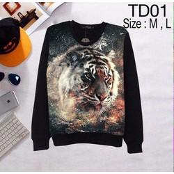 Áo thun 3d tay dài họa tiết hình tiger