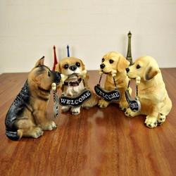 Tượng trang trí, quà tặng hình chú chó welcome