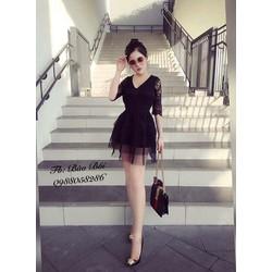 Đầm tay ren ngắn