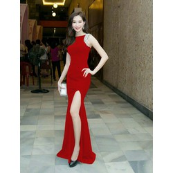 hàng cao cấp-Đầm dạ hội đỏthiết kế xẻ tà sang trọng quý phái