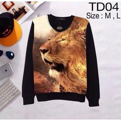 Áo thun 3d tay dài họa tiết hình sư tử