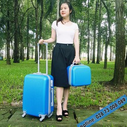 Combo Vali kéo du lịch màu xanh dương 2 cái size 14 -20