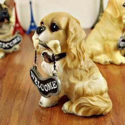 Tượng trang trí chú chó welcome để bàn, quà tặng