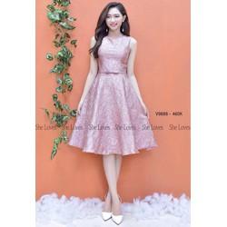 Đầm xòe gấm hồng hoa nổi sát nách siêu cute - T2310