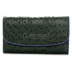 Ví da đà điểu 3 gấp màu xanh rêu SH0143