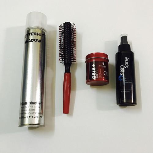 combo wax tóc osis + gôm butterfly + xịt phồng ocean spay + lược tròn