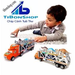 Mô hình xe tải container chở thú, ô tô loại lớn - XCT