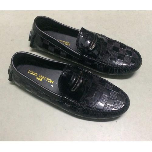 Giày Lười Da bóng kẻ ô MT047