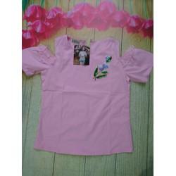 Áo bẹt vai màu hồng