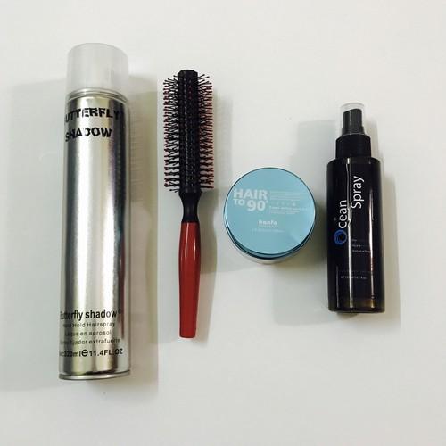 combo wax tóc kanfa + gôm butterfly + xịt phồng ocean spay + lược tròn