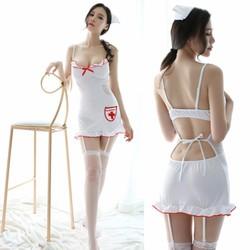 Đồ ngủ y tá kèm dây kẹp vớ và vớ lưới sexy TK1026
