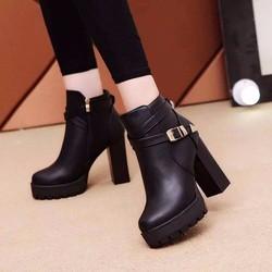 Giày boot nữ phối khóa kéo bên hông