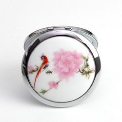 Gương trang điểm gốm sứ hoa đào
