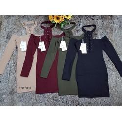Đầm len body cổ yếm đan dây ngực hàng nhập! MS: S101127 Giá sỉ: 160K