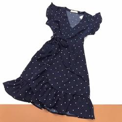 Đầm Xòe Chấm Bi Xanh Đen Form Đẹp