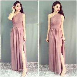 Đầm dạ hội thiết kế lệch vai quyến rũ - Hồng