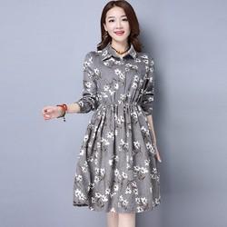 Đầm suông họa tiết tay dài D6311