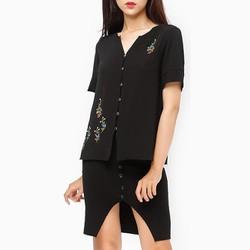 Áo kiểu thời trang An Thủy HT hoa thêu 658 màu đen - size XL