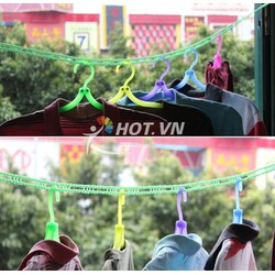 dây phơi quần áo nhựa có móc sẵn treo đồ tránh xô đẩy