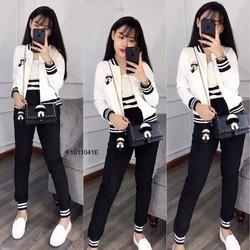 Set bộ áo khoác mặt người quần dài hàng tk MS: S101125 Giá sỉ: 140K