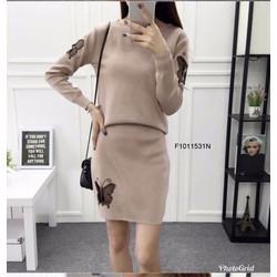 Set bộ len bướm tay dài chân váy hàng nhập! MS: S101144 Giá sỉ: 135k