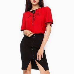 Áo thời trang An Thủy HT phối nơ cột điệu đà màu đỏ 648 - size XL