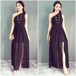 Đầm dạ hội thiết kế lệch vai quyến rũ - Đen