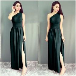 Đầm dạ hội thiết kế lệch vai quyến rũ - Xanh