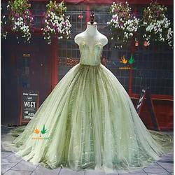 Váy cưới búp bê tùng rộng, đuôi dài