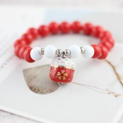 Vòng Tay Gốm Mèo May Mắn Maneki Neko Red