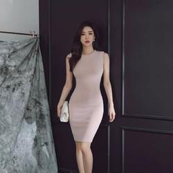 Đầm body cổ tròn sát nách form dài