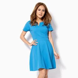 Đầm công sở cổ chữ V màu xanh dương