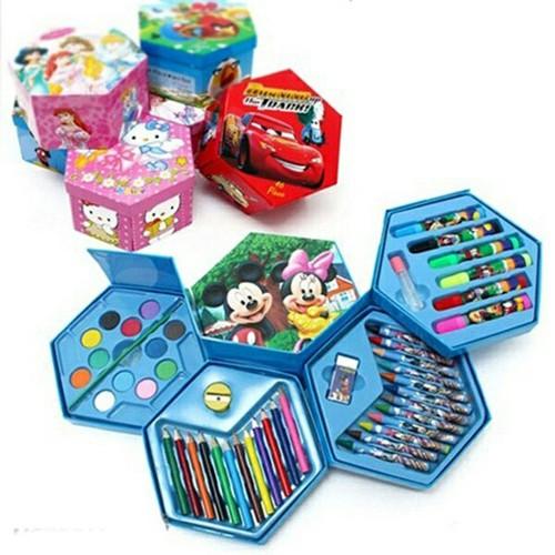 Hộp bút chì màu xoay 46 món nghộ nghĩnh cho bé tập tô