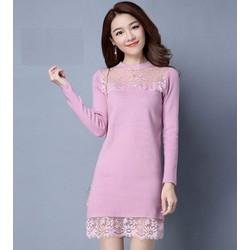 Đầm len phối ren thời trang