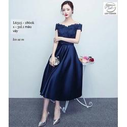 Đầm xòe xanh trễ vai ren phối váy phi