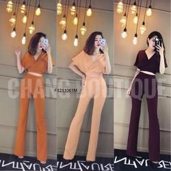 Set áo đắp V tay con quần dài hàng thiết kế! MS:  S121124 Giá sỉ: 160k